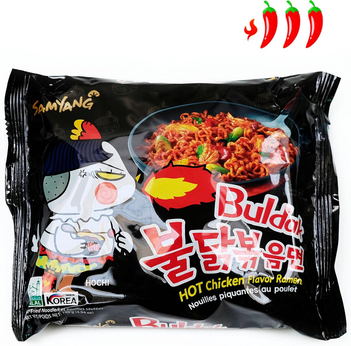 Hot Chicken Ramen Korean Samyang Extremely Spicy Buldak Noodle / Pikante Noedels ( 1x 140g)