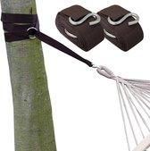 Ophangset voor Hangmat - 2 Riemen 320x5cm - 250kg Bevestiging - Boom Ophanging Bruin