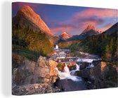 Canvas Schilderijen - Zonsondergang in Montana - 60x40 cm - Wanddecoratie