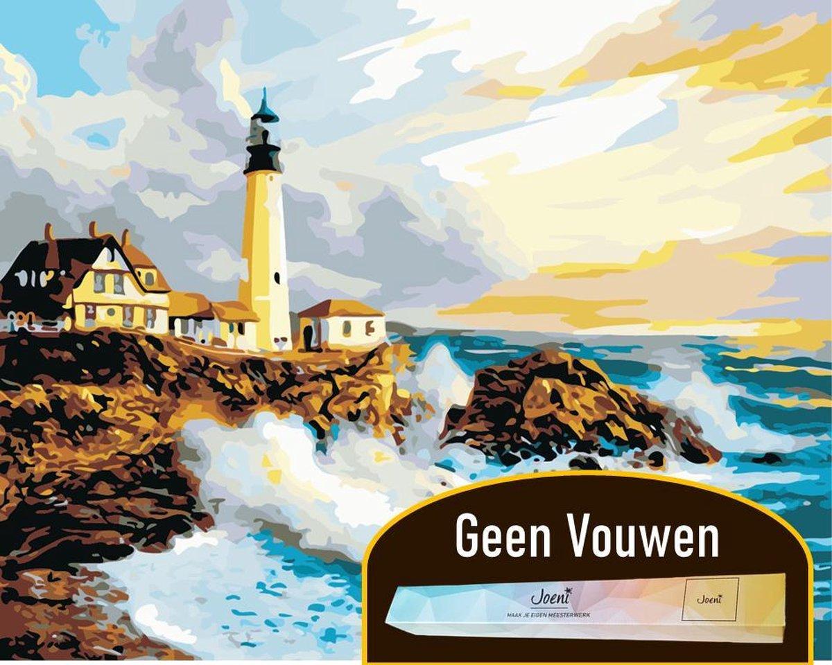 Joeni® Schilderen Op Nummer - 40x50 cm - Landschap: Vuurtoren aan Zee - Volwassenen - Geschenkverpakking