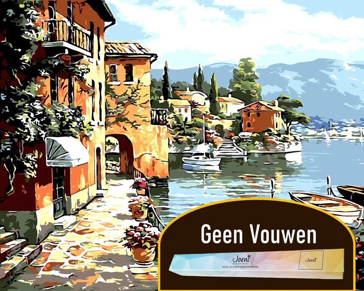 Joeni® Schilderen Op Nummer - 40x50 cm - Landschap: Italië aan Zee - Volwassenen
