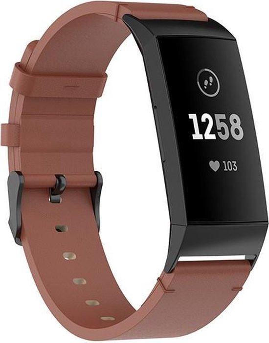 Luxe Lederen Armband Voor Fitbit Charge 3/4 Horloge Bandje - Leren iWatch Watchband Polsband - Watch Band Strap - Sportband - Vervang Horlogeband - Bruin