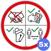 Waarschuwing sticker Corona virus (5x) - 18x18cm