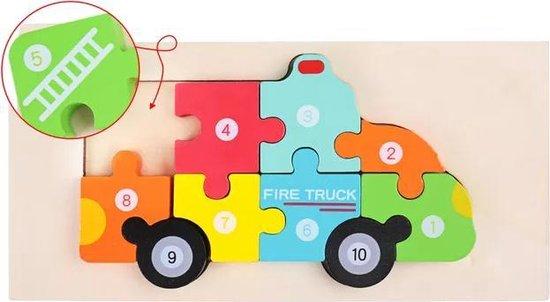 Kinderpuzzel - Hout - 10 stukjes - Brandweerauto