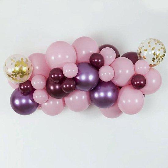 Ballonnen - 50 stuks Sweet gold pakket - Nedville collectie - Luxe Ballonnen pastel rose, transparant met goudstippen,  paars - Helium Ballonnenset - Babyshower Party - sweet sixteen -  Bruiloft - geboorte - met snelsluiters en lintjes twv 9,95