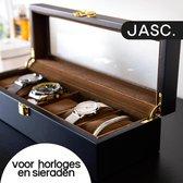 JASC® Luxe Horlogebox met 6 Compartimenten - Voor Horloges En Sieraden - Horloge Doos - Sieradendoos