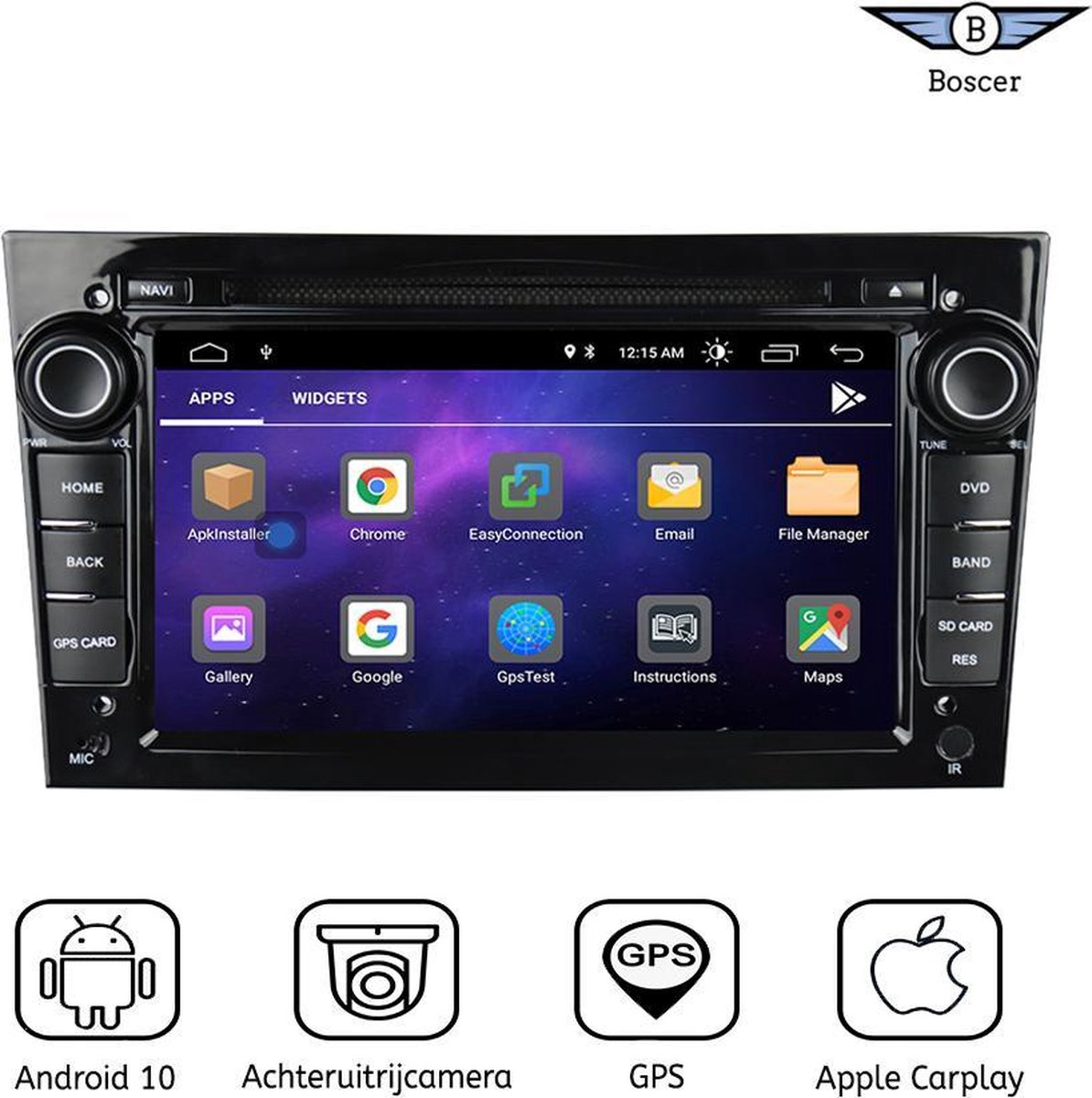 Boscer® Opel Autoradio   Android 10   Apple Carplay   Android Auto   Navigatiesysteem   DVD & CD   Zwart   Achteruitrijcamera
