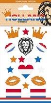 2 stuks Tattoo sticker ,EK, Nederland,  Holland, Koningsdag, Verjaardag, Voetbal, Kinderen en Volwassenen, Eurosongfestival