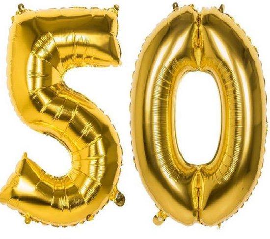 50 jaar Getrouwd Folie Ballonnen Goud - Gouden Huwelijk  - Versiering - Verjaardag Bruiloft 50 Jaar Feest - Met Rietje -XXL -115 cm