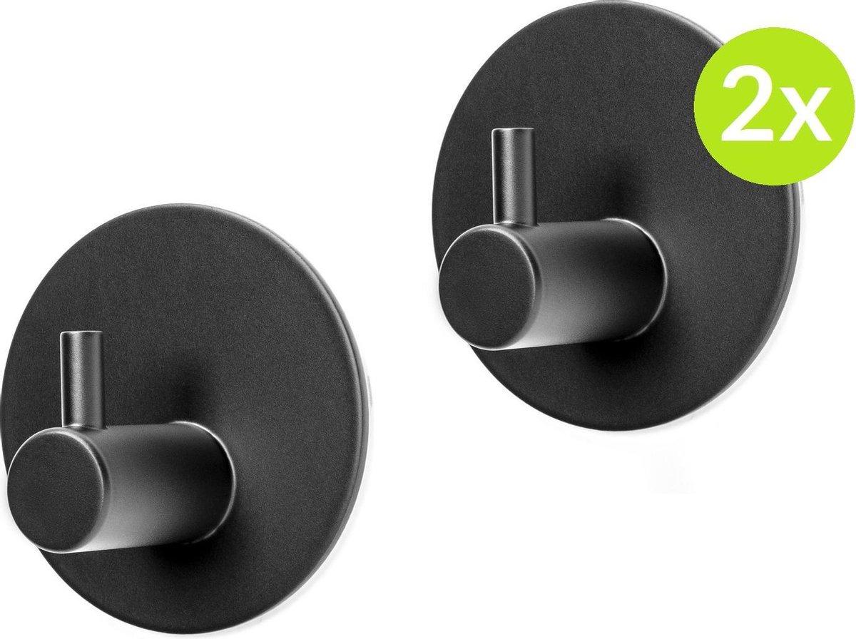Handdoekhaakjes zelfklevend - RVS Mat Zwart - Haakjes badkamer & keuken - Design wandhaakjes Plakken