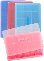 Nafura® Siliconen IJsblokjesvorm Met Deksel (4 Stuks) – IJsvormpjes Maker – IJsklontjes vorm -  Herbruikbaar – BPA Vrij - Vierkant