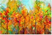 Graphic Message - Schilderij op Canvas - Abstract Bomen Landschap - Oranje - Woonkamer