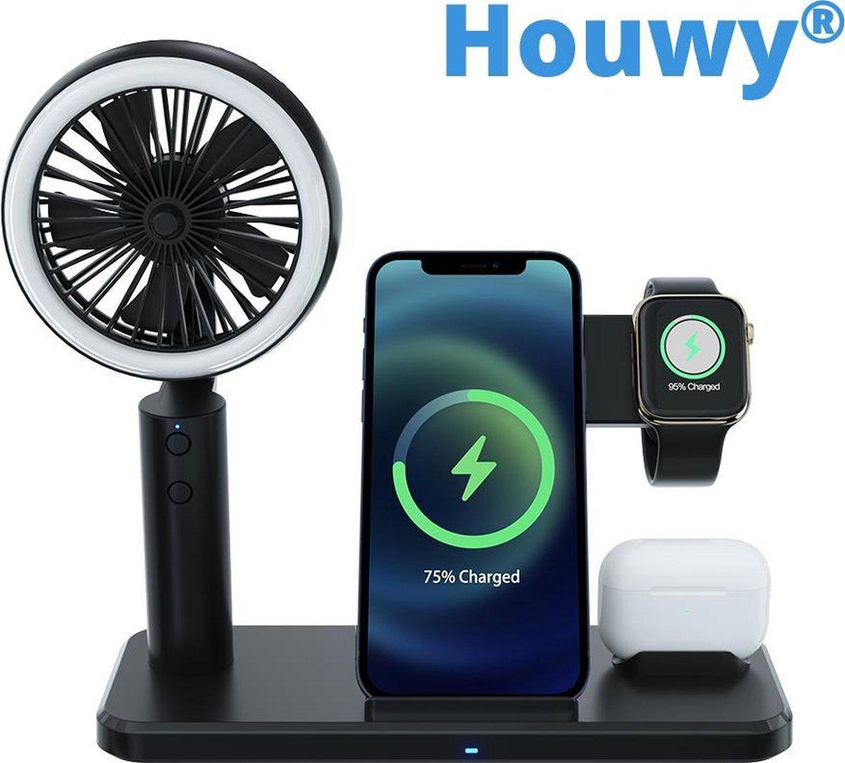 4 in 1 Charging Dock - Oplader - Oplader Iphone - Oplader Samsung - Wireless Charger - Draadloze Oplader - Apple Watch - Apple Watch Lader - Airpods - Airpods Lader - Draadloze Oordopjes - Lader - Ventilator - Ringlamp