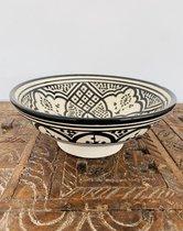 Asfi Aardewerk Schaal | Zwart Wit | Handgemaakt | Marokkaanse Aardewerk | 21 cm
