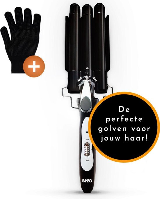 Sanbo - Golvenkrultang - inclusief hittebestendige handschoen - Wafeltang - Krultang - automatische krultang - wave krultang - krultangen - wavertang - wafelvork - waver - golventang - professioneel - golfkrultang -