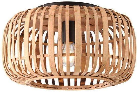 Treccia Plafondlamp 1 lichts d: 40cm rotan/mat zwart - Landelijk - Freelight - 2 jaar garantie