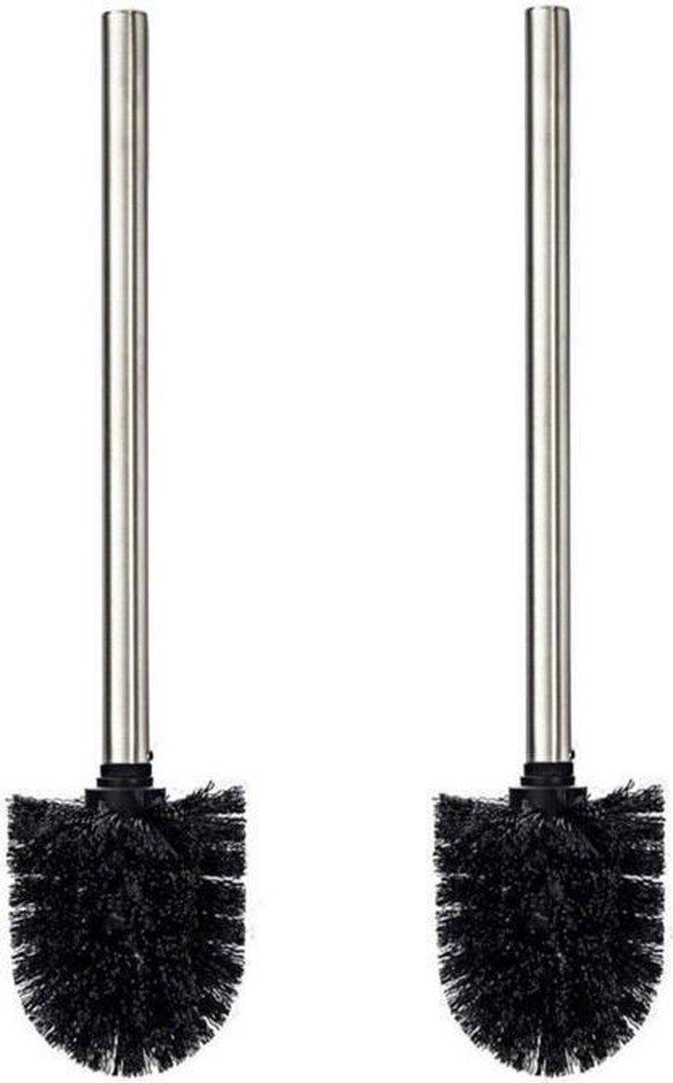 Universele toilet borstel zwart / met RVS handgreep / Wc borstel / Toiletborstel - Set van 2