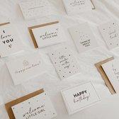 12x hippe kaartjes (A6 formaat) - kaartjes om te versturen - kaartenset - kaartjes blanco - kaartjes met tekst - wenskaarten