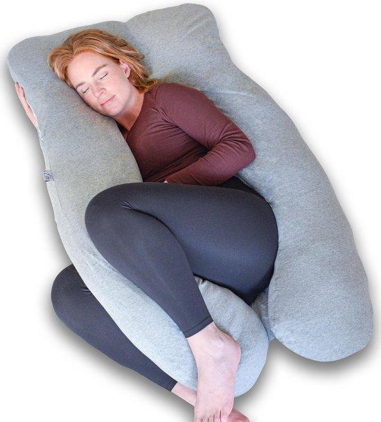 Ella Zwangerschapskussen XXL U-Vorm - Voedingskussen - Lichaamskussen - Afneembare Jersey Katoenen Hoes - 150x70cm - Lichtgrijs
