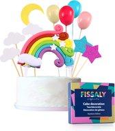 Fissaly® 15 Stuks Regenboog Happy Birthday Taarttopper & Caketopper Set – Taartversiering – Decoratie Topper