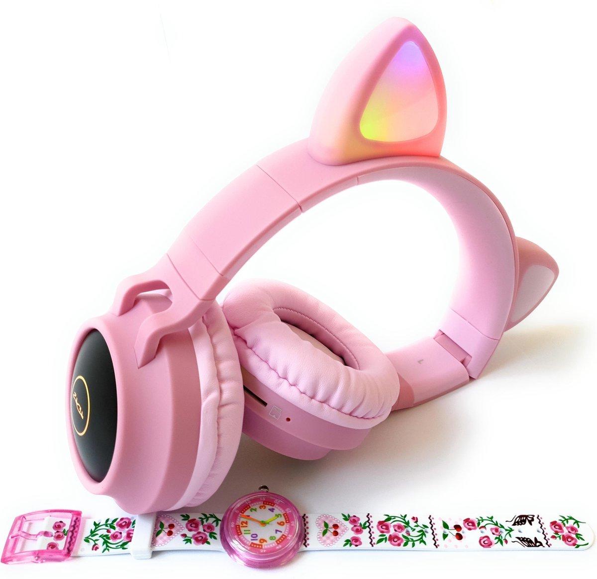 ZaCia Bluetooth Draadloze On-Ear Koptelefoon voor Kinderen Roze Incl. educatief kinderhorloge – Kattenoortjes – Kinder Hoofdtelefoon – Microfoon – HiFi Stereo Audio – Handsfree – Gehoorbescherming – Schakelbare LED-verlichting – Noise Cancelling