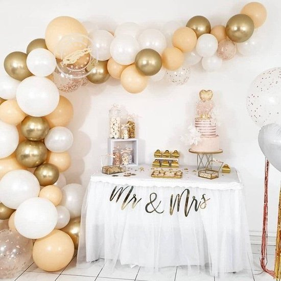 Retro - Vintage - Geboorte - Verjaardag Ballonnen | Off-White - Goud - Beige/Zalm/Perzik | Ballon | Effen | Baby Shower - Kraamfeest - Verjaardag - Geboorte - Fotoshoot - Wedding - Birthday - Party - Feest - Huwelijk - Jubileum | DH collection