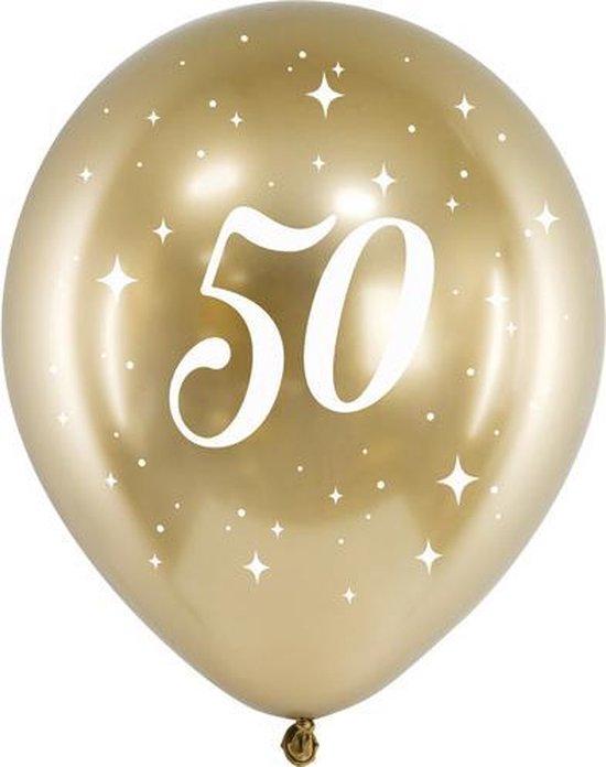 Glossy ballonnen gold 50 jaar (6 stuks)