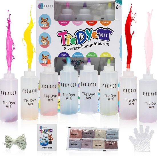 Afbeelding van CREACOL ® Tie Dye Kit - 8 Kleuren Textielverf 120ml – 36 Projecten Tie Dye Set - Extra Zakjes Kleurstof, Handschoenen en Elastiekjes speelgoed