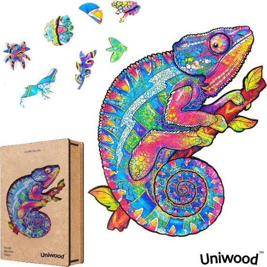 Afbeelding van Uniwood™️ - Houten Puzzel volwassenen Jigsaw puzzels wooden puzzle unidragon puzzel 3d Kameleon A3
