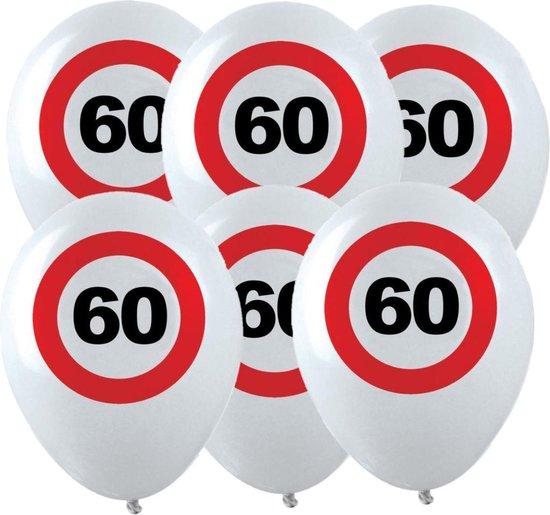 12x Leeftijd verjaardag ballonnen met 60 jaar stopbord opdruk 28 cm