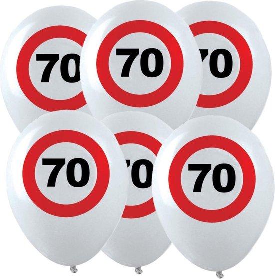 12x Leeftijd verjaardag ballonnen met 70 jaar stopbord opdruk 28 cm