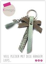 Kimago.nl - sleutelhanger - jassenhanger – strikje met klosje – echt leer - taupe - mint
