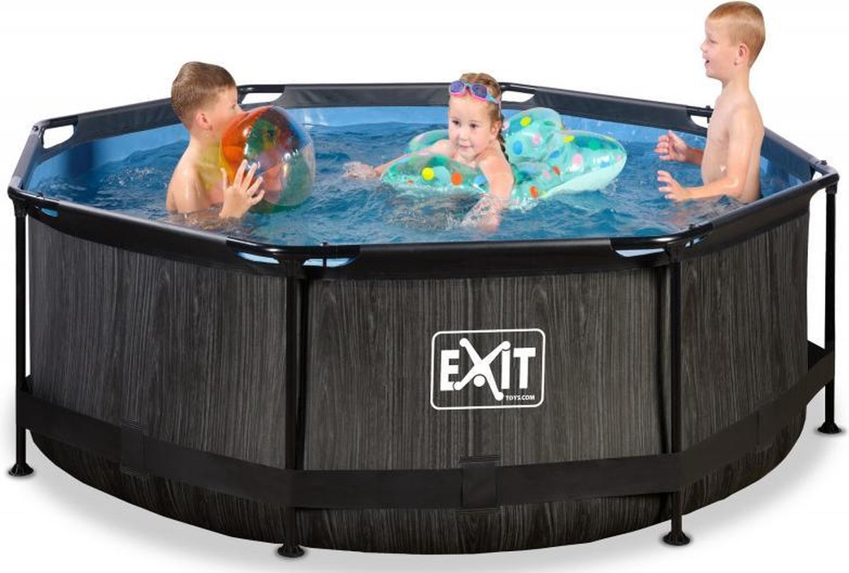 EXIT Zwembad Frame Pool Black Wood Limited Edition met Filterpomp - 244 x 76 cm