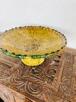 Tamegroute fruitschaal | Mosterdgeel | Marokkaanse Aardewerk | Diameter 30