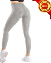 Sportlegging Dames High Waist - Anti Cellulite / Cellulitis - Scrunch Butt - Sportbroek - Sport Legging Voor Fitness / Yoga / Vrije Tijd - Comfortabel - S - Grijs