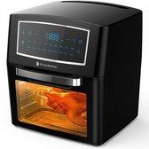 KitchenBrothers Oven Deluxe - 18-in-1 Hetelucht Friteuse, Oven, Grill, Droger - 10x Accessoires o.a. Rotisserie, Spies en Frietmand - 1500W - 12L - Met Kookboek - Zwart