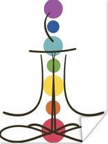 Abstracte illustratie van de zeven chakra's poster papier 120x160 cm - Foto print op Poster (wanddecoratie woonkamer / slaapkamer) XXL / Groot formaat!