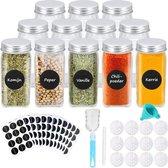 12 Glazen Kruidenpotjes met Strooideksel – Kruidenstrooier - Vierkante Potjes met Deksel – Complete set met Stickers en Trechter - Transparant