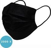 Uniseks wegwerp mondkapje met elastiek voor volwassenen - 2000 Pack - Zwart