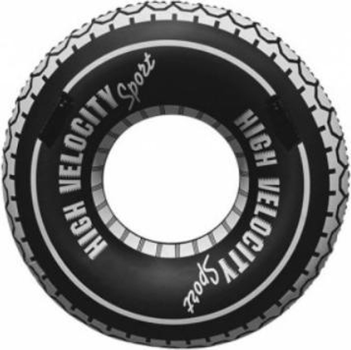 Opblaasbare Autoband| Zwemband Autoband| Giant Autoband| zwart/wit/grijs| 90 cm