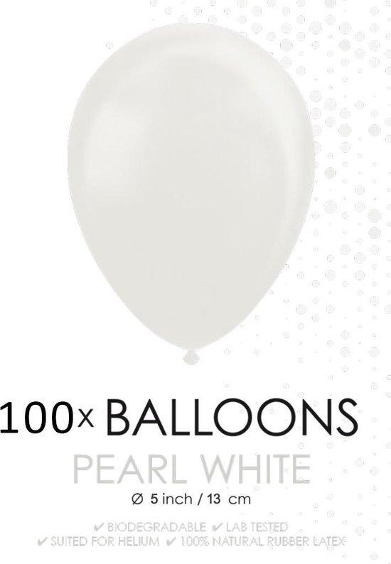 100 Kleine ballonnen parel wit.