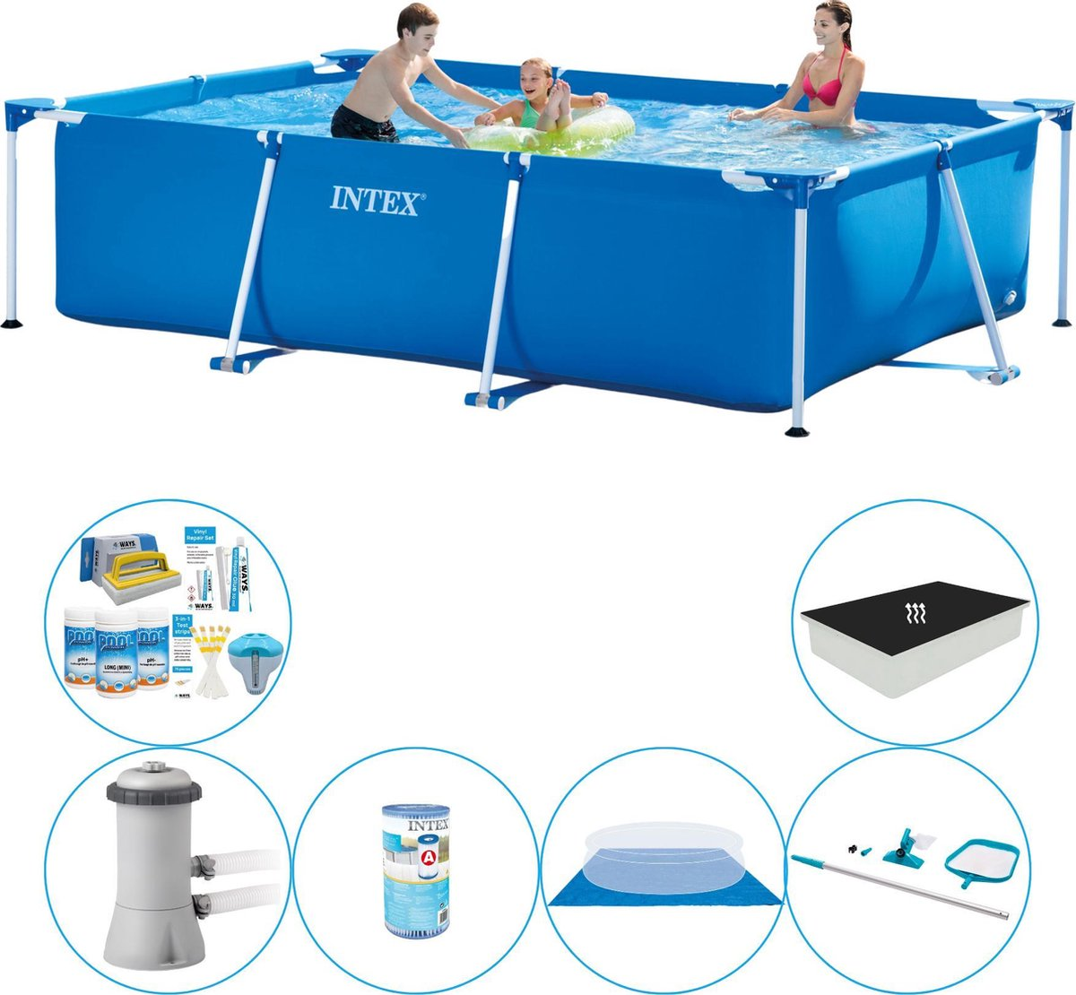 Intex Frame Pool Rechthoekig 300x200x75 cm - Zwembad Combinatie Deal
