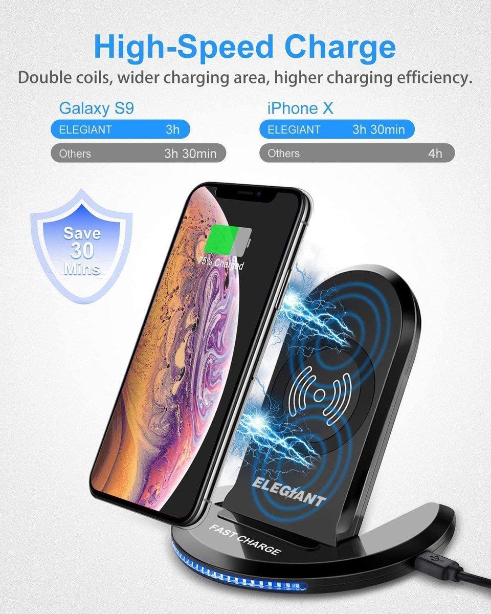 ELEGIANT Eligiant Laadstation | Draadloze staande oplader | Voor Iphone X XS 11 12 | Voor samsung Galaxy S20 S10 Note | Universeel draadloos opladen | Buds Draadloos opladen | Airpods | Iwatch | Universele oplader