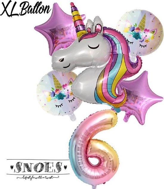 * Snoes * Unicorn * Eenhoorn * Set van 6 Ballonnen XL * Unicorn Nummer 6 * Zesde verjaardag * Hoera 6 Jaar * Birthday