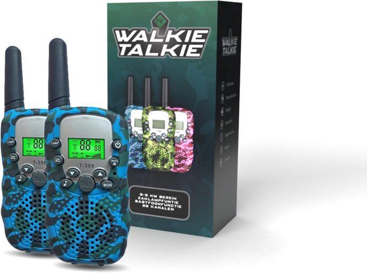 M.Y.© Premium Walkie Talkie Voor Kinderen en Volwassenen - Portofoon Tot 5 KM Bereik - Lichtfunctie - Camouflage Blauw - Met bijpassende Koordjes - Blauw