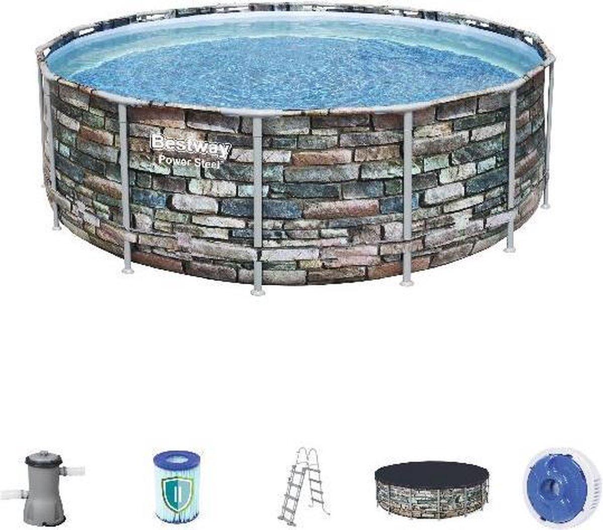 Bestway zwembad power steel set rond steen 427
