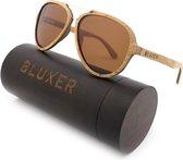 Bluxer® Zonnebril voor Heren en Dames Polaroid - Hippe Houten Zonnebril Gepolariseerd - UV400 Lens - Olive Wood Laminated - Bruine Lens