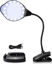 Loeplamp met LED Verlichting - Vaste Voet En Tafelklem - Flexibele Zwanenhals  2x & 4x Vergroting en 110m Glas - Voor Volwassenen/Senioren/Kinderen/DiamondPainting/Lezen/Solderen - Zwart - Media Evolution®