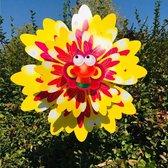 BrenLux - Windmolen – Libellen met bloem - Windmolen tuin – Windmolen 57 cm hoog x 39 cm – Dubbele windmolen - Tuindecoratie - Windmolen op staander - Tuininrichting – Vrolijke windmolen – Tuindecoratie