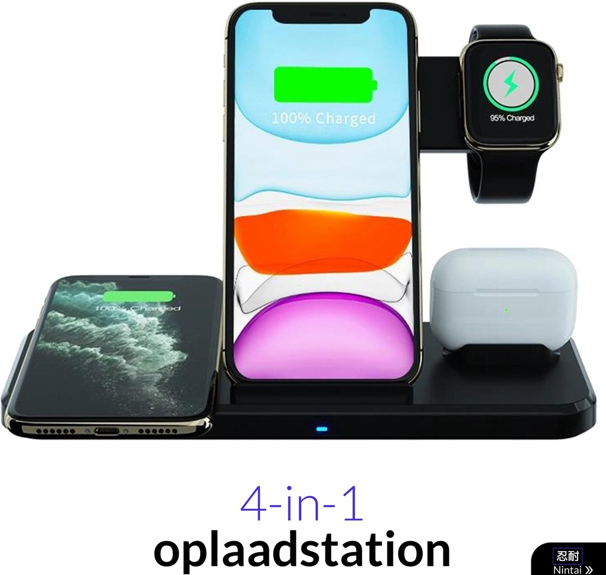 Oplaadstation iPhone 15W - 4 in 1 Docking Station Apple - Snelle Draadloze Oplader iPhone / iWatch / AirPods - iPhone 12 lader